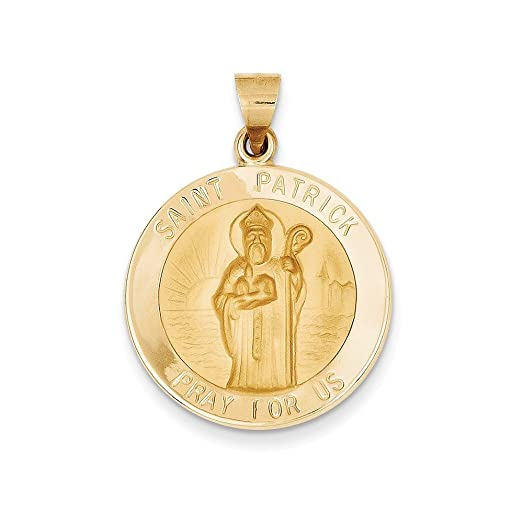 Amazon solid 14k yellow gold polished and satin st patrick solid 14k yellow gold polished and satin st patrick medal pendant 23mm x 25mm aloadofball Images