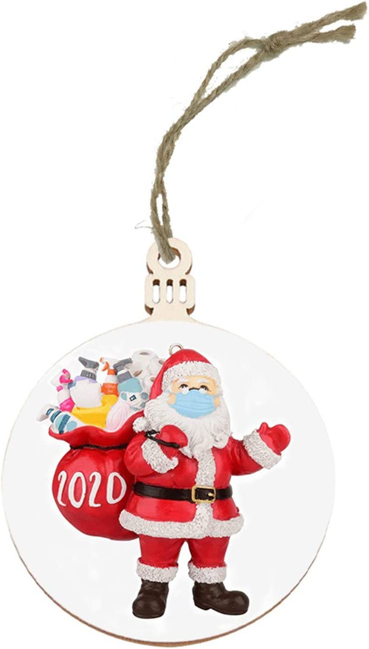 Christmas Tree Ornaments 2020 Santa Wearing Cover Hanging Decor Creative Gifts