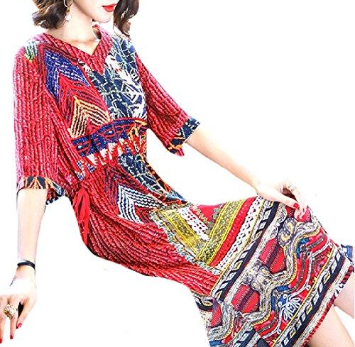 Sleeve Women Chiffon 1 Loose 3 Oversize Dress Mid Charmeuse 4 Coolred qIx1dww