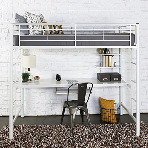 Walker Edison Twin Metal Loft Bed with Workstation, (Durable Black And White Powder)