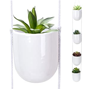 Nattol 4 Tier Hanging Planter, White Ceramic Wall Planters, Decorative Plant pots for Indoor and Outdoor use