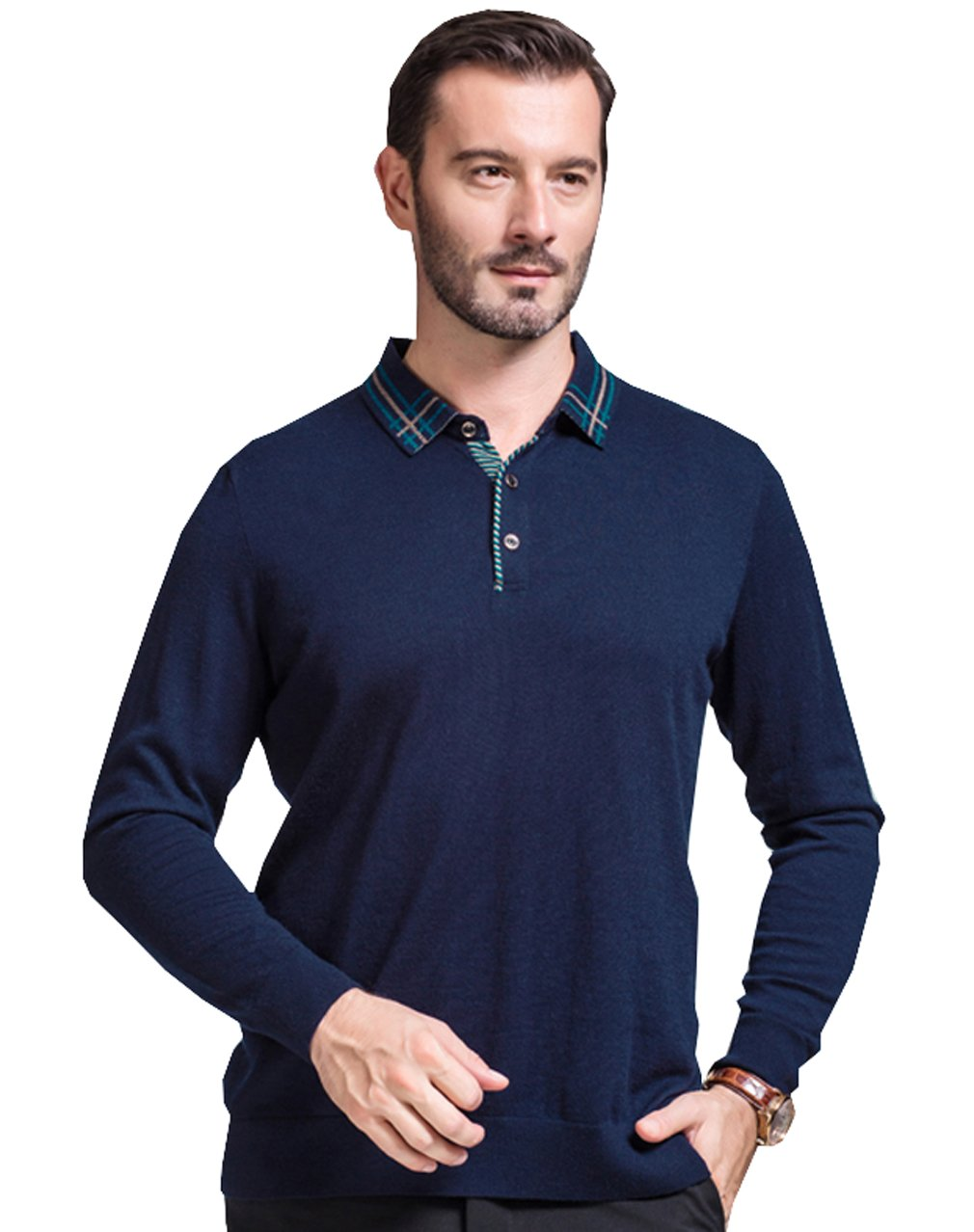 UNbox Mens Pure Wool Buttoned Down Neck Knitted Stand Collar Pullover Sweater XL