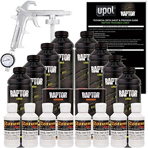 U-Pol Raptor Bright White Urethane Spray-On Truck Bed Liner Kit w/Free Spray Gun, 8 Liters