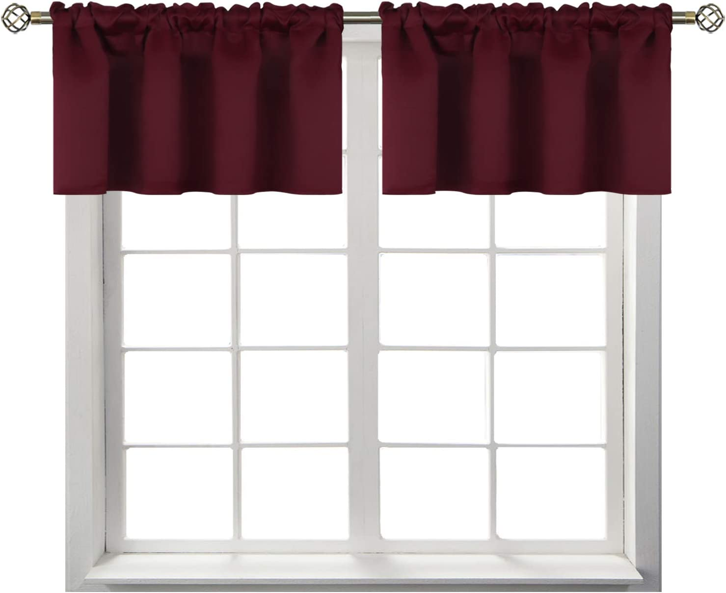 BGment Rod Pocket Valances for Kitchen- Thermal Insulated Room Darkening Tier Valance Curtain for Dinning Room, 42 x 18 Inch, 2 Panels, Burgundy