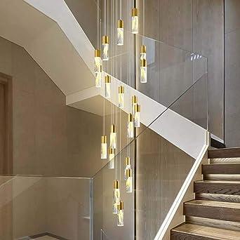 Araña de luces 50x223cm trigo Escaleras LED de larga Araña ático en la planta de Villa escalera de caracol de la lámpara Luz colgante: Amazon.es: Iluminación