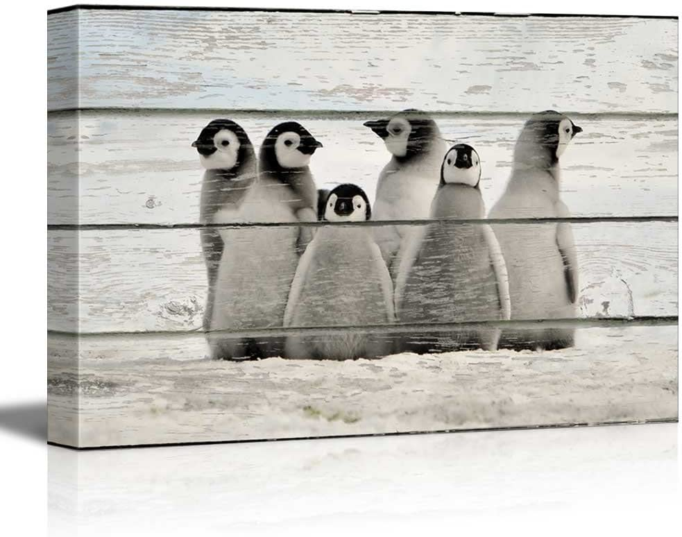 Rustic Wood Style Little Baby Penguins - Canvas Art