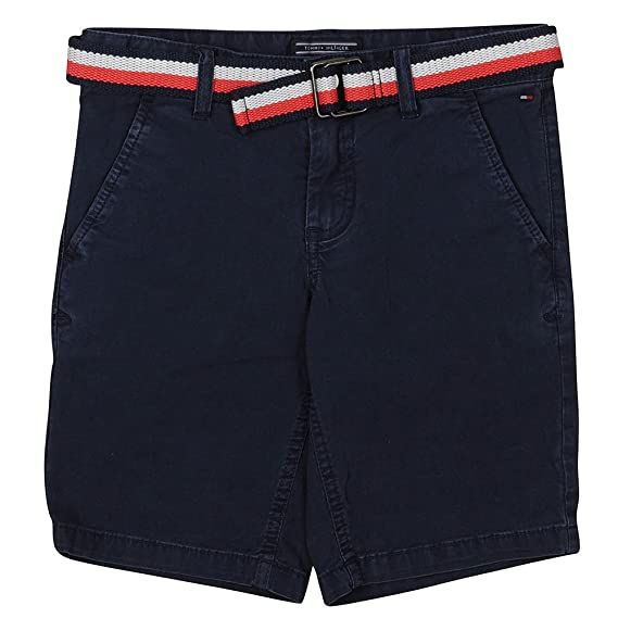 396c08c354 Image Unavailable. Image not available for. Colour: Tommy Hilfiger Flag  Belted Chino Shorts in Navy