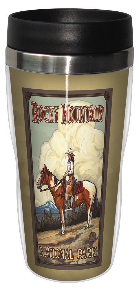 Lanquist Stainless Steel Sip N Go Travel Tumbler Tree-Free Greetings sg23188 Vintage Rocky Mountain National Park Cowgirl by Paul A 16-Ounce