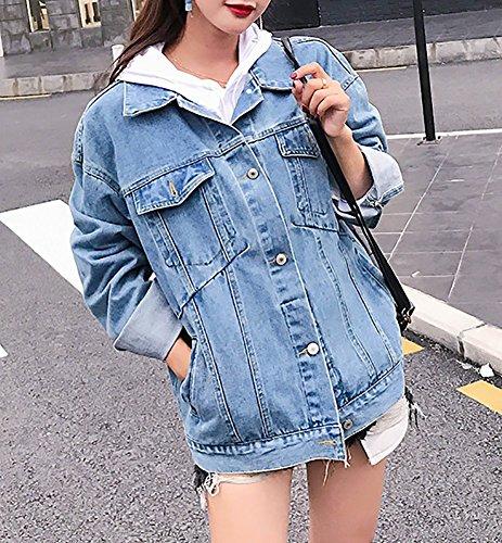 8d28e287282cb MuNiSa Women s Oversize Boyfriend Denim Jacket Long Sleeve Jean Coat with  Pocket - Buy Online in UAE.