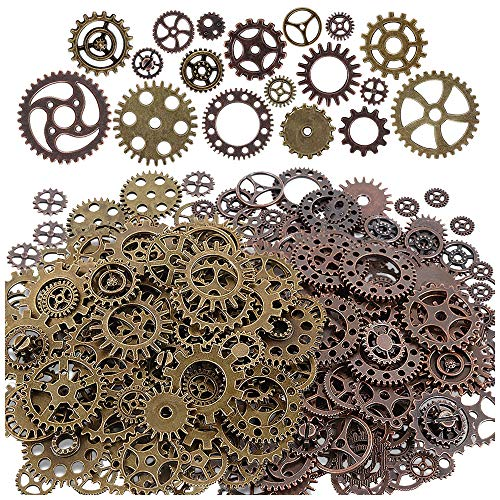 Teenitor 200 Gram (Approx 140pcs) Bronze and Copper Assorted Antique Steampunk Gears Charms Pendant Clock Watch Wheel Gear for Crafting, Jewelry Making from Teenitor