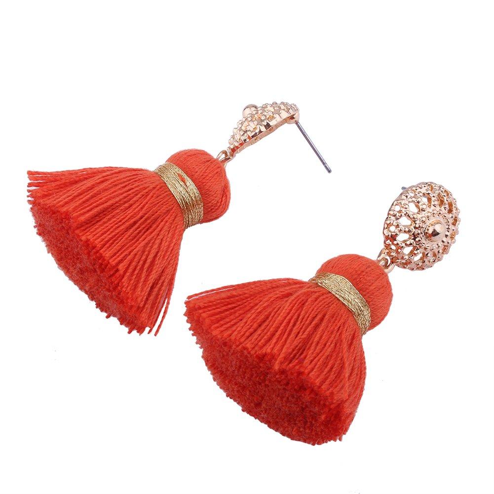 Aibelly Bohemian Retro Ethnic Short Tassel Statement Chandelier Dangle Drop Earrings New Fashion Handmade Thread Stud Earrings for Woman Girls by Aibelly (Image #4)