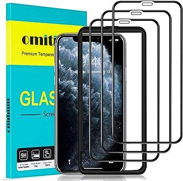 """omitium Protector Pantalla para iPhone 11 Pro MAX, [3 Pack] iPhone XS MAX Cristal Templado [Cobertura máxima][ [Marco Instalación Fácil] Sin Burbujas Dureza 9H Vidrio Templado iPhone 11 Pro MAX, 6,5"""": Amazon.es: Electrónica"""