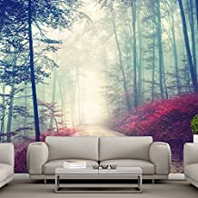 Magical Red Road Wall Mural Misty Forest Tree Photo Wallpaper Living Room Decor available in 8 Sizes Gigantic Digital