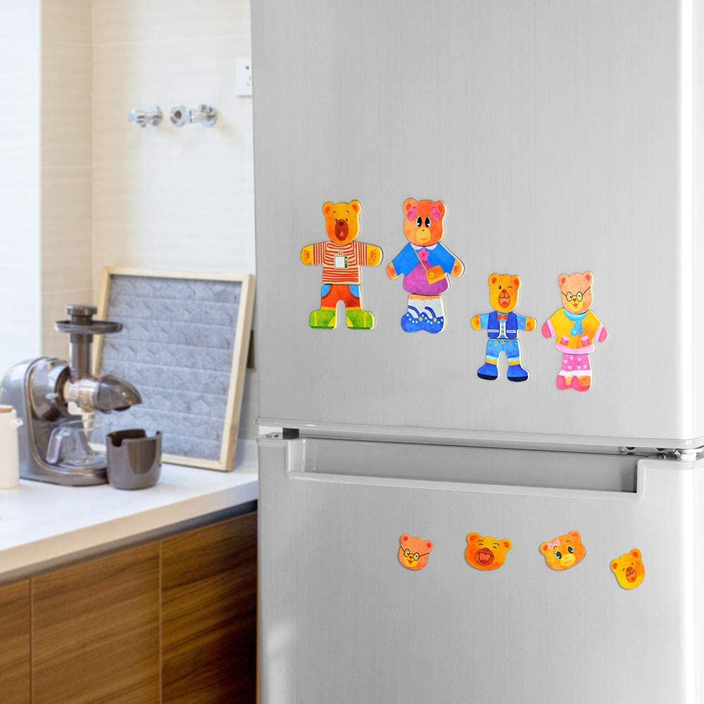 Kids Puzzles Preschool Mix-Match Games 36PCS Wooden Bear Family Magnetic Dress-Up Puzzle for Toddlers 3 Year Olds
