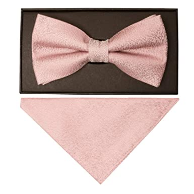 3558fecc8373 TIES R US Plain Rose Gold Textured Silk Mens Bow Tie and Pocket Square Set  Dickie Bow: Amazon.co.uk: Clothing