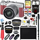 Fujifilm X-A5 Mirrorless Digital Camera w/ XC 15-45mm f/3.5-5.6 OIS PZ Lens Kit + 64GB Memory & Flash Accessory Bundle (Pink)