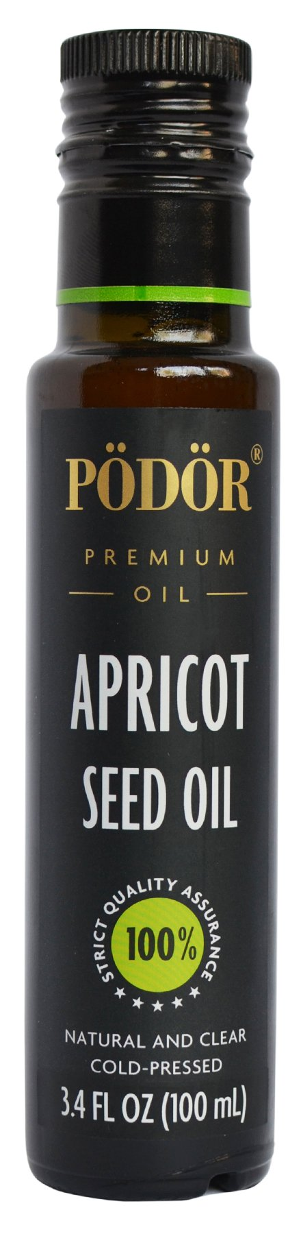 PÖDÖR Premium Apricot Seed Oil - 3.4 fl. Oz. - Cold-Pressed, 100% Natural, Unrefined and Unfiltered, Vegan, Gluten-Free, Non-GMO in Glass Bottle
