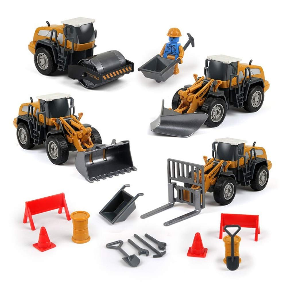 Kikioo 4PCS Mini Alloy Engineering Truck Construction Vehicles Toys Model Car Set Party Favors Birthday Cake Decorations Ideal Educational Safe Toy Birthday for Toddlers Boys & Girls Aged 3, 4, 5, 6
