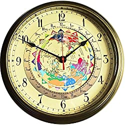 Trintec Massive 14 Brass World Time Clock 24 Major Time Zones at a Glance
