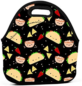 Taco Tuesday Party Insulated Neoprene Lunch Bag Tote Handbag lunchbox Food Container Gourmet Tote Cooler warm Pouch For School work Office