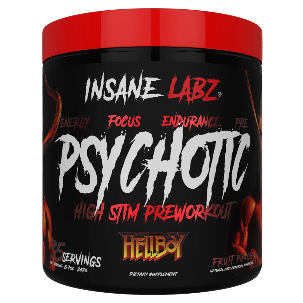 Insane Labz Hellboy Edition, High Stimulant Pre Workout Powder and NO Booster with Beta Alanine, L Citrulline, and Caffeine, Boosts Focus, Energy, Endurance, Nitric Oxide Levels, 35 Srvgs, Fruit Punch by Insane Labz