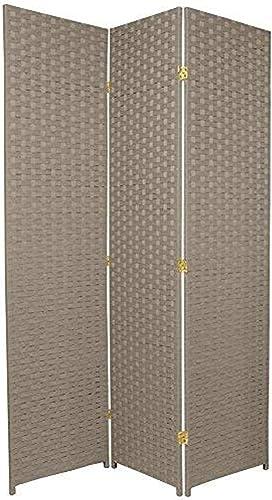 ORIENTAL Furniture 6-Feet Tall Woven Fiber Room Divider, Special Edition, Light Gray