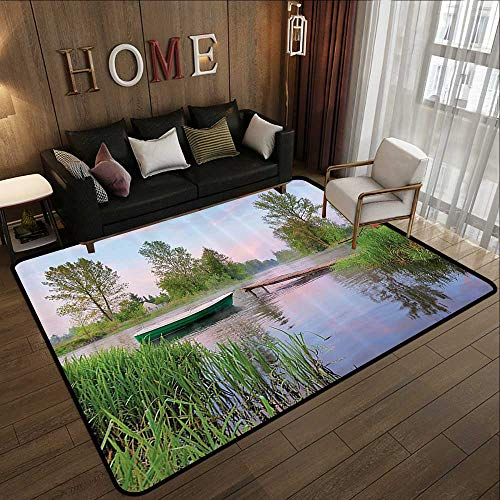 Bath Rugs,Lake House Decor Collection,Rural Landscape on Lakeside Boat Trees Grass Clouds and Boardwalk Countryside,Green Blue Bro 71