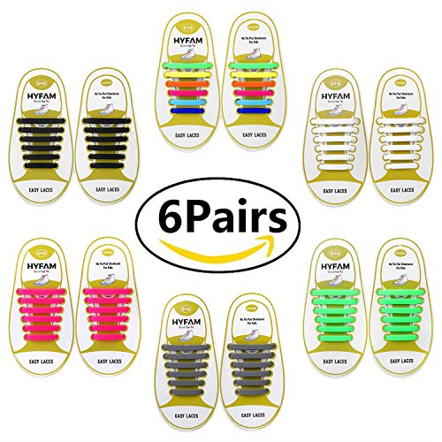 HYFAM No Tie Shoelaces for Kids - Best in Sports Fan Shoelaces - Waterproof Silicone Flat Elastic Athletic Running Shoe Laces with Multicolor for Sneaker Boots Board Shoes and Casual Shoes 6 Pack by HYFAM