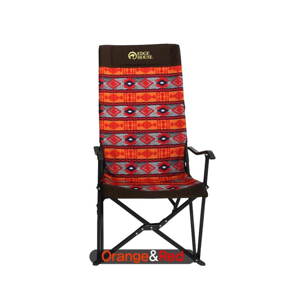 [EDGE HOUSE] High long two fold fabric Relax Chair Indian Pattern in Outdoor EHA-57 & Free Gift (Key Ring) (Orange&Red) by EDGE HOUSE (Image #2)