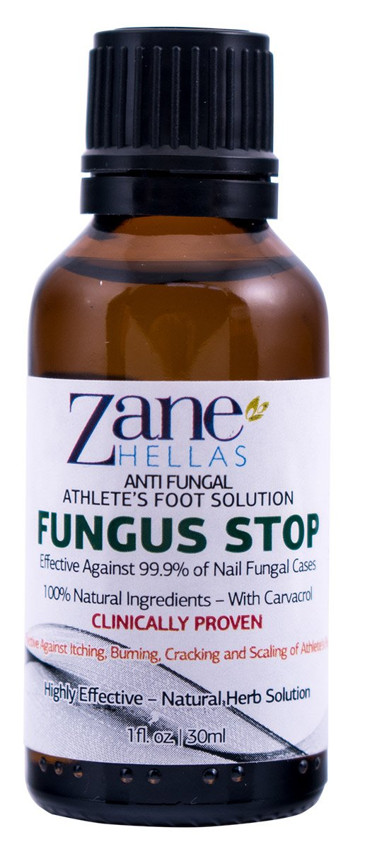 Fungus Stop. Anti Fungal Athletes Foot Solution. KILL 99.9% of FUNGUS. Relieves Itching, Burning, Cracking, Scaling. 1 oz - 30 ml
