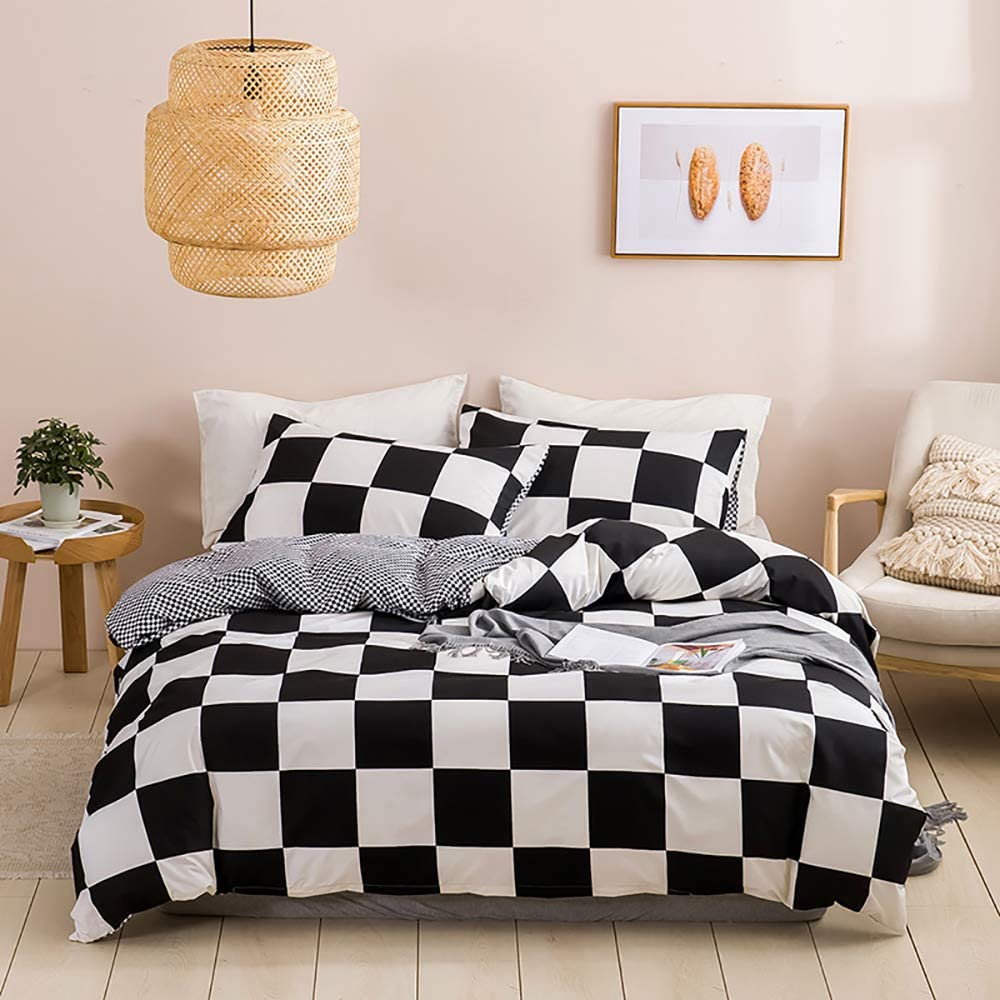 CoutureBridal Kids Black and White Buffalo Check Bedding Set Twin Size Grey Plaid Gingham Farmhouse Duvet Cover Sets 3pcs Soft Microfiber Comforter Quilt Covers with Zipper Closure