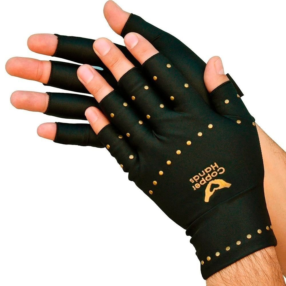 Copper Hands Fingerless Compression Gloves- Arthritis Gloves - 1 Pair L/XL - Helps Relieve from Muscle, Tendon & Joint Paint Perfect for Men or Women