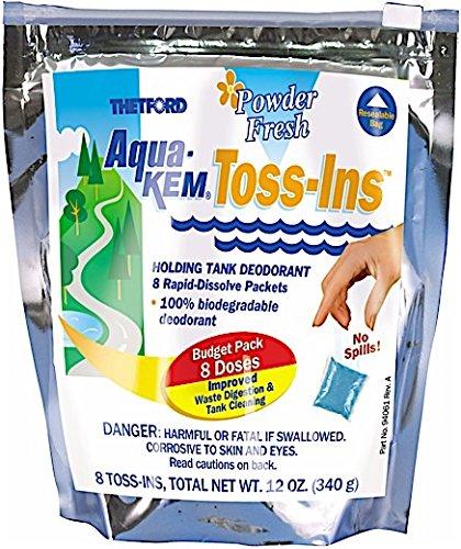 Thetford Aqua-Kem Powder Fresh Toss-Ins RV Holding Tank Treatment - Deodorant/Waste Digester/Detergent - Pack of 8 94059