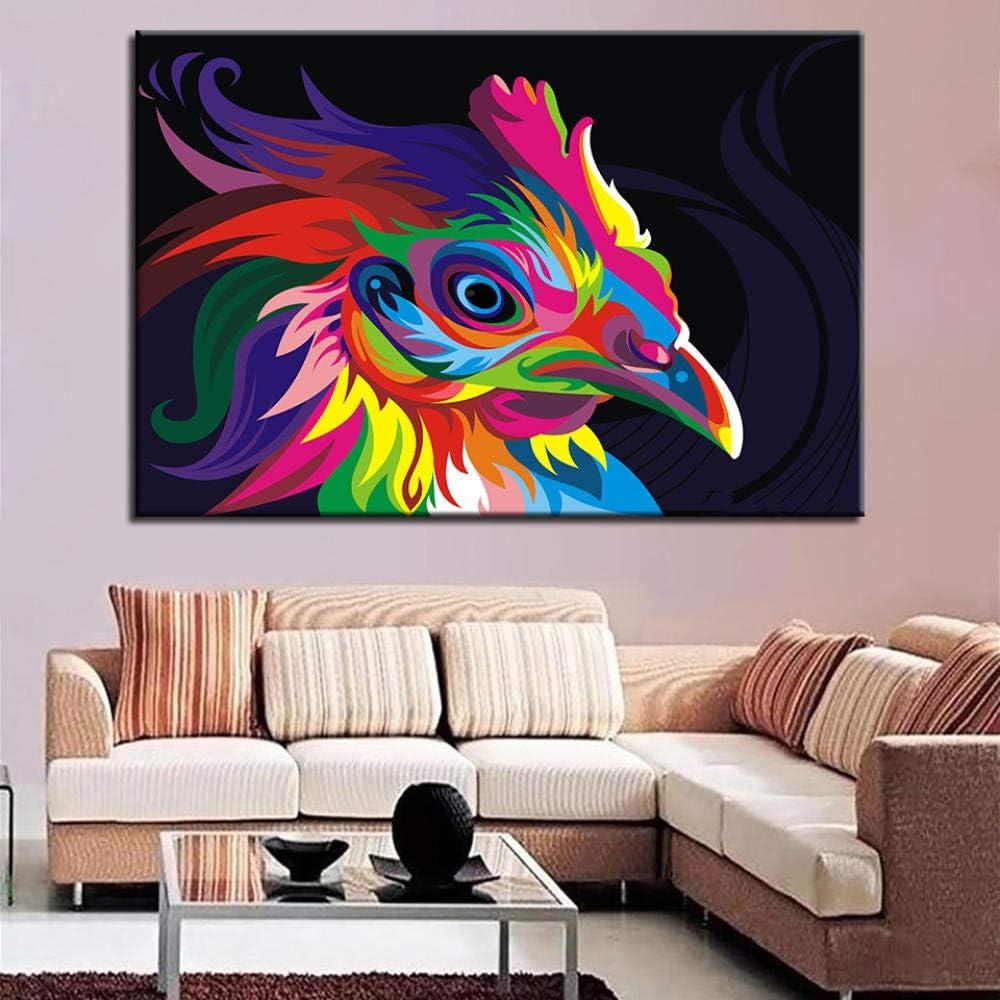 ohne Rahmen WSHIYI Wohnzimmer HD gedruckt Moderne Leinwand Malerei Bunte Huhn Bild Wandkunst Home Decor Poster-50x75cm 19.7x29.5in