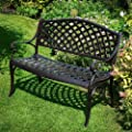 Banc de jardin Jasmine - aluminium style fer forg� - coloris bronze ancien