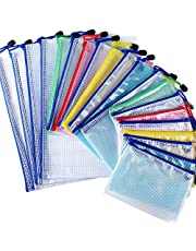 20pcs Carpetas Plástico de Documentos 3 Tamaños A4 A5 A6 Bolsas de Archivo con Cremallera para Papel Accesorios Oficina Escuela Hogar Colores
