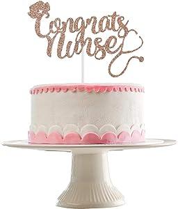 Rose Gold Glittery Congrats Nurse Cake Topper- Nurse Graduation Party Decorations,RN Graduation Celebration Decor,Nurse Graduations Party Cake Decor