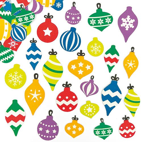 Bauble Foam Stickers for Children to Decorate Christmas Crafts and Cards (Pack of 120)