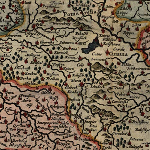 Map Historical Reproductions (Polonia Silesia Poland historical 1683 fine old map beautifully hand color)