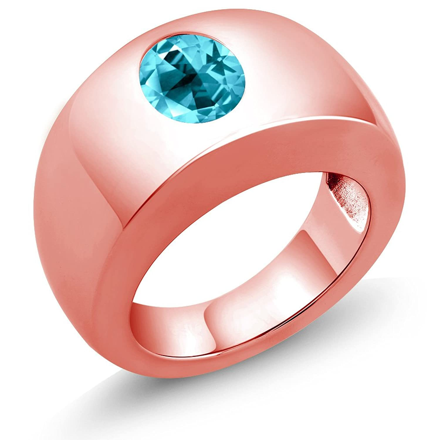 Amazon.com: 18K Rose Gold Ring Set with Oval Paraiba Topaz from ...