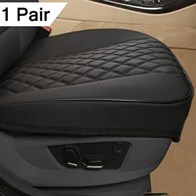 """Black Panther 1 Pair PU Car Seat Covers, Front Seat Protectors Compatible with 90% Vehicles,Diamond Pattern Embroidery,Anti-Slip & Full Wrapping Edge (W 21.26''×D 20.86""""),Black: Automotive"""