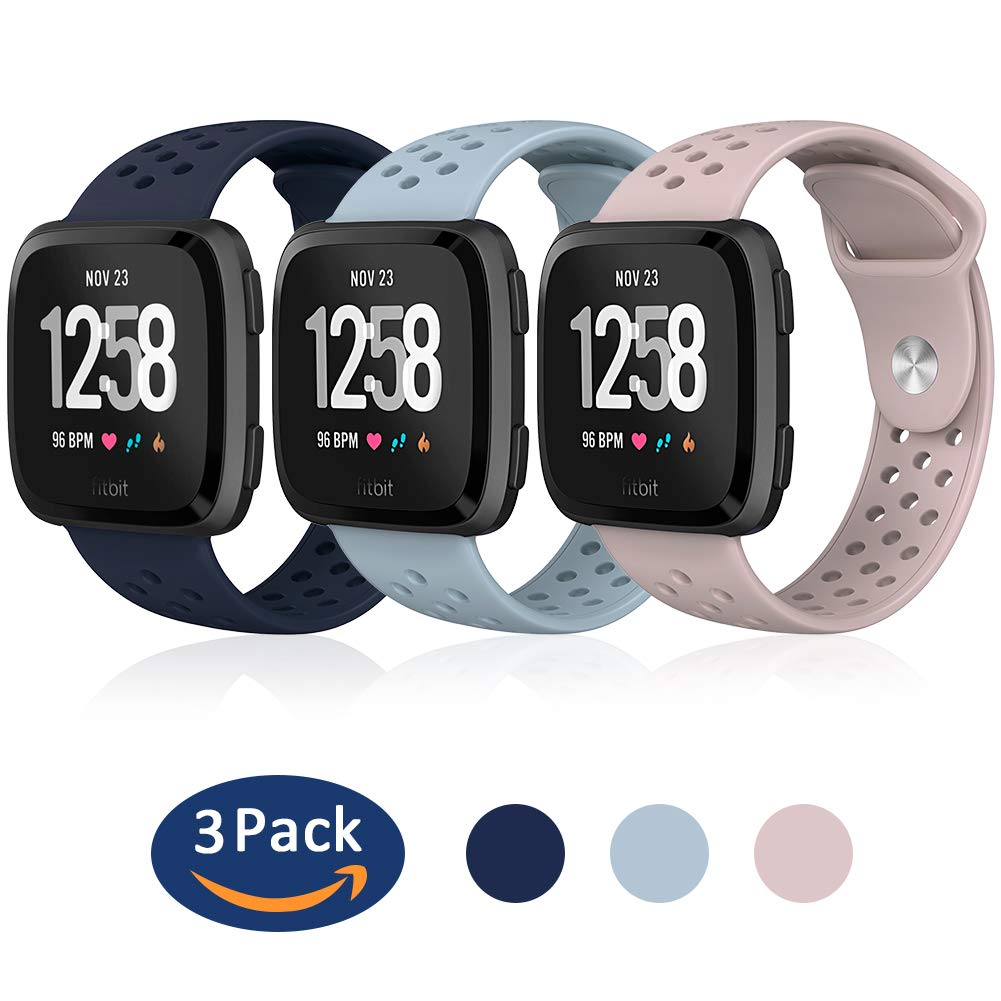Hagibis Compatible Fitbit Versa Bands Sport Silicone Replacement Breathable Strap Bands New Fitbit Versa Smart Fitness Watch