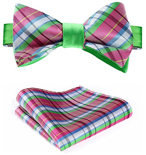 Pink Double Green Jacquard Set HISDERN Self Fashion Bow Tie Sided Men's Uxqqv4R