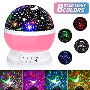 Baby Night Lights, Moon Star Projector 360 Degree Rotation – 4 LED Bulbs 8 Color Changing Light, Romantic Night Lighting Lamp, Unique Gifts for Birthday Nursery Women Children Kids Baby