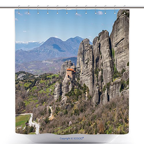 Durable Shower Curtains Holy Monastery Of Varlaam In Meteora Mountains Thessaly Greece Unesco World Heritage List 263811512 Polyester Bathroom Shower Curtain Set With (Non Scary Halloween Movies List)