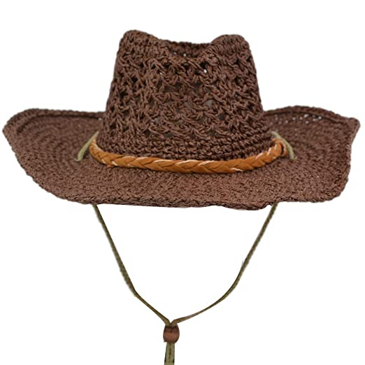3e523e735 Yosang Straw Knitting Hollow Hat Beach Travelling Coyboy Western Sun ...