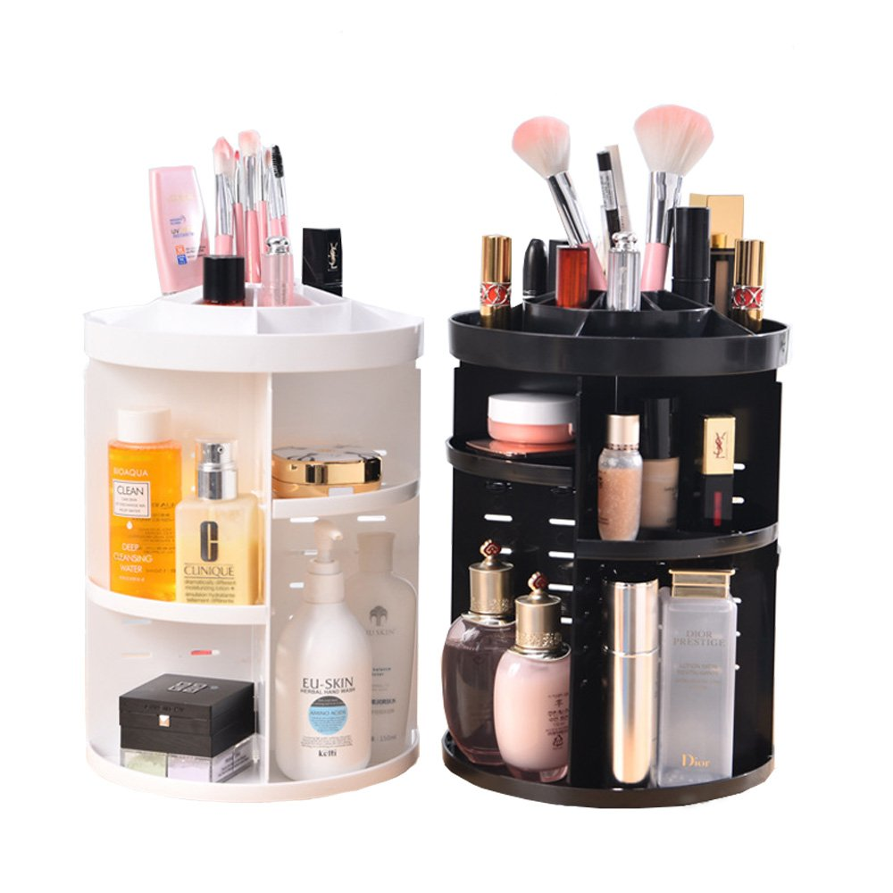 Evoio 360 Degree Rotation Makeup Organizer,Multi-Function Cosmetic Case/Box (Black, Circle with Tray)
