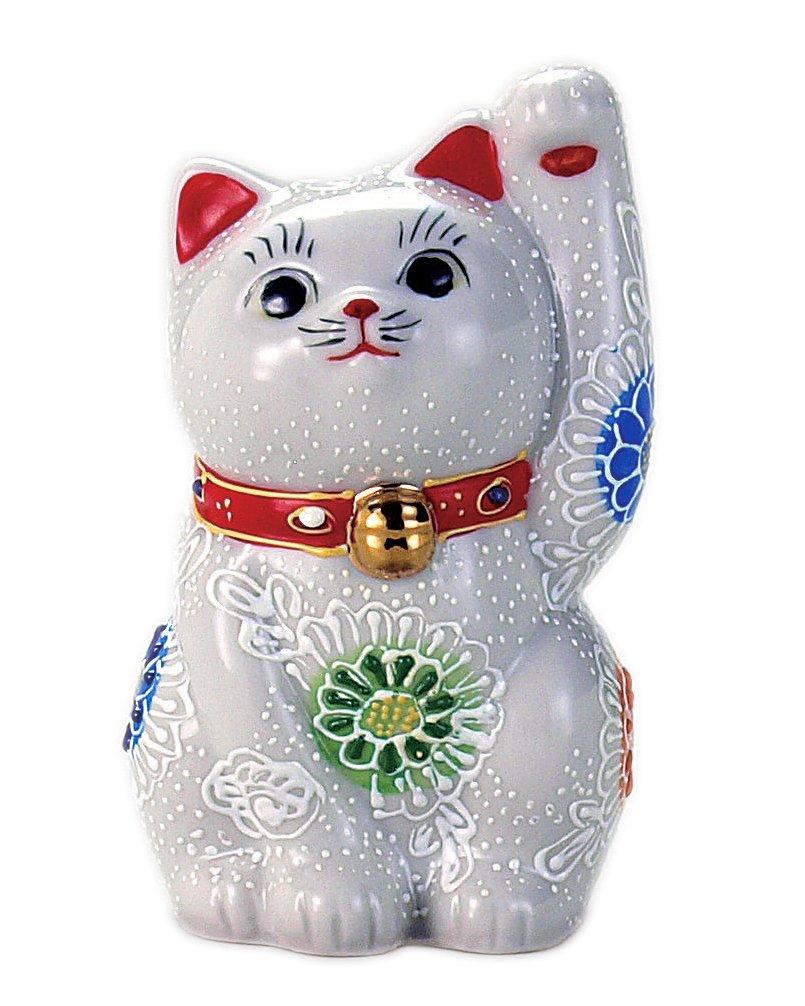 九谷焼 招き猫 白盛 3号 (左手) N76-05 B00EU6GXJC