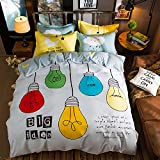 WarmGo Bedding Set Full/Queen Size for Adult Kids Colorful Bulb & Big Idea Pattern Duvet Cover Sets 4 Piece Duvet Cover Set-1 PC Duvet Cover+1 PC Flat Sheet+2 Personality Pillowcase