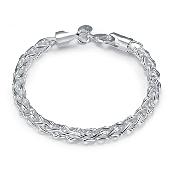 New Fashion Jewelry Classic 925 Sytle Women solid Silver Jewelry bracelet + velvet pouch VqQ27iD94O